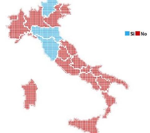 Mapa completo do resultado do referendo na Itália