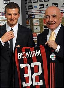 Apresentado por Adriano Galliani, David Beckham vestirá a camisa 32 do Milan
