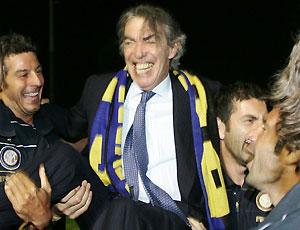 O presidente da Inter, Massimo Moratti, comemorou mais um aniversário, mas desta vez o presente foi o 17o título do clube