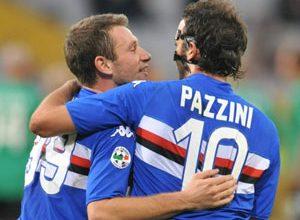 A dupla Cassano e Pazzini, da Sampdoria, considerada a melhor dupla da Itália, comemora o gol de abertura da goleada sobre o Bologna por 4 a 1